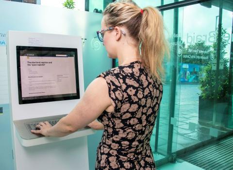 Electoral Registration kiosk installed at the Braid