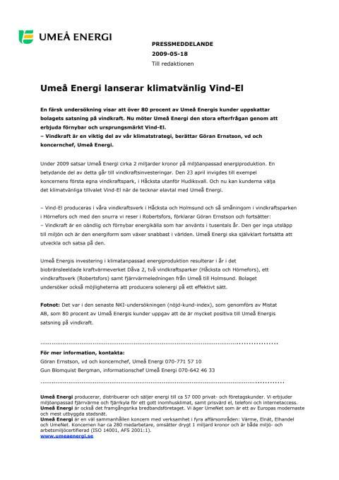 Umeå Energi lanserar klimatvänlig Vind-El