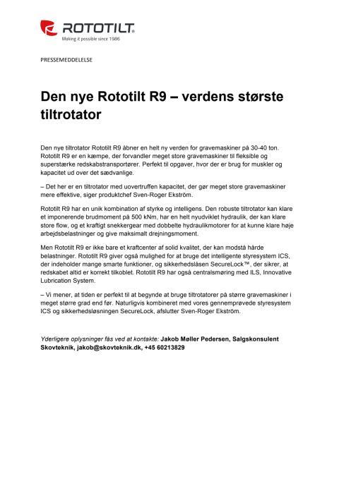 Den nye Rototilt R9 – verdens største tiltrotator