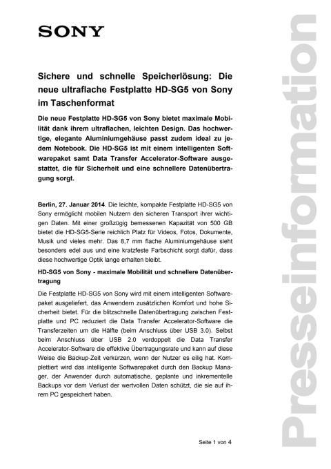 Sichere und schnelle Speicherlösung: Die neue ultraflache Festplatte HD-SG5 von Sony im Taschenformat