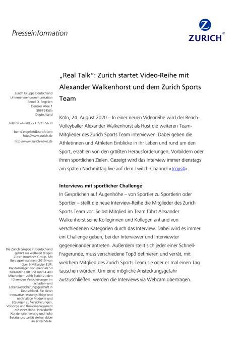 """""""Real Talk"""": Zurich startet Video-Reihe mit Alexander Walkenhorst und dem Zurich Sports Team"""