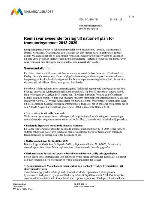 Remissvar avseende Trafikverkets förslag till nationell plan för transportsystemet 2018-2029
