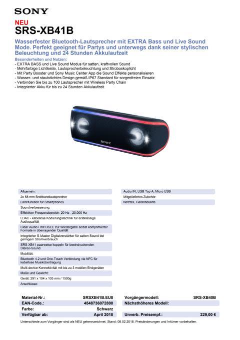 Datenblatt Wireless Speaker SRS-XB41 von Sony