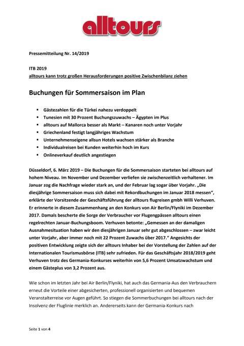 ITB 2019 - alltours kann trotz großen Herausforderungen positive Zwischenbilanz ziehen - Buchungen für Sommersaison im Plan