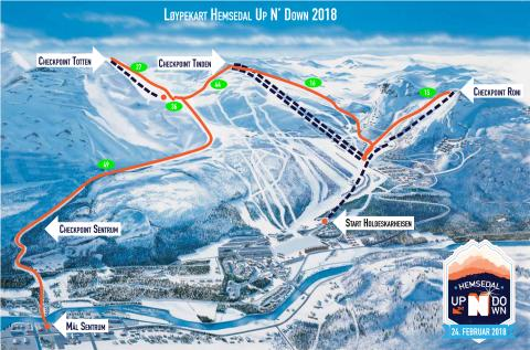 Løypekart Hemsedal Up N`Down 2018