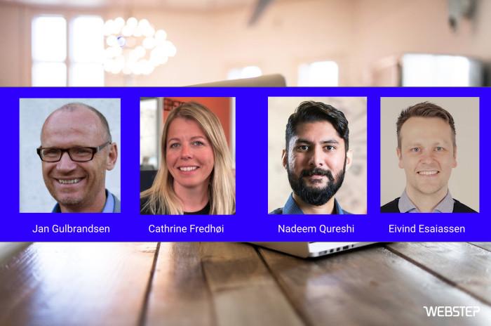Klare til å hjelpe deg med digitalisering: Nye rådgivere i Webstep: Jan Gulbrandsen, Cathrine Fredhøi, Nadeem J. Qureshi og Eivind Esaiassen.