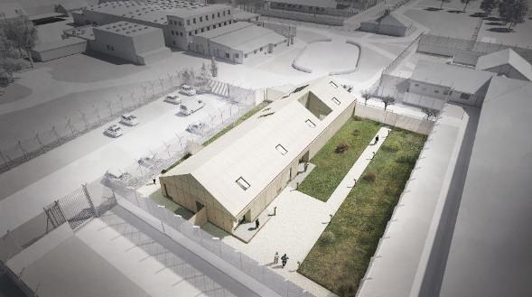 Jyderup Fængsels nye bygning, der skal huse en central indgang, hovedvagt og besøgsfaciliteter.