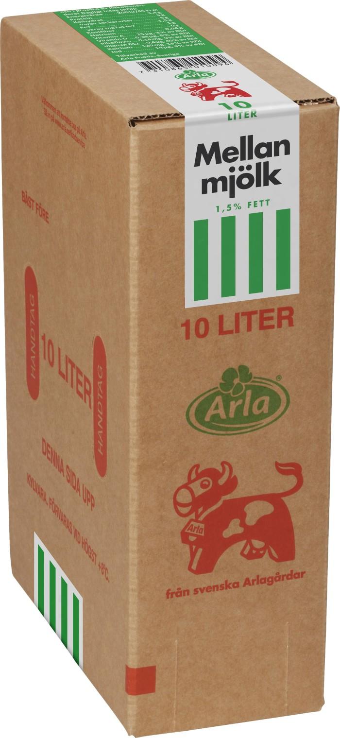 Arla återkallar 10 liters mjölkförpackningar pga möjlig inblandning av disklösning