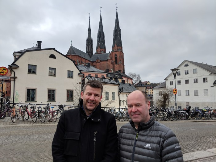 - Alla ny certifierade går in i ett mycket starkt nätverk och våra kunder har tillgång till ett unikt kompetensnätverk, säger Eje Thorarinson (t.v.) Uppsala kollega Patrick Larsson till höger.