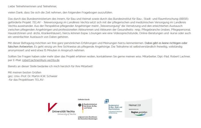 Projekt zur Gesundheitsversorgung im Landkreis Vechta | Uni Vechta sucht pflegende Angehörige für Befragungen