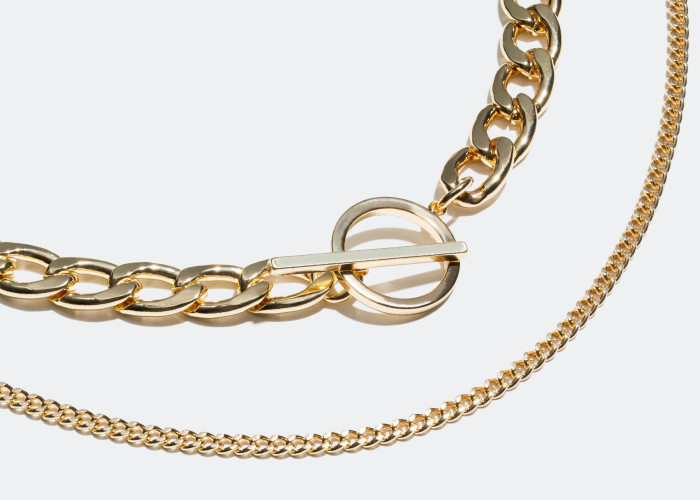 Layers of chain necklaces.