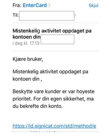 Eksempel på falsk e-mail