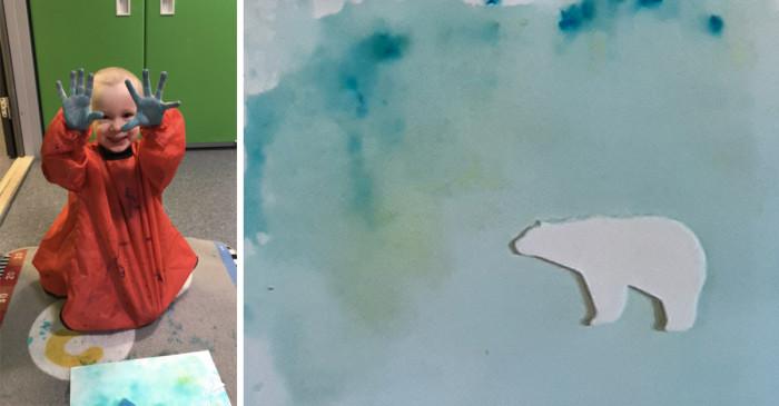 Barnas kreative kunstverk – «Vebjørn Sand-utstilling»