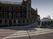 Visualisering över spårvägen på S:t Laurentiigatan och Clemenstorget