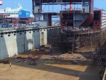 Timelapse av Stena Lines första E-Flexer i dockan på varvet i Kina