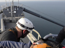 Højderedning fra Storebæltsbroens pyloner