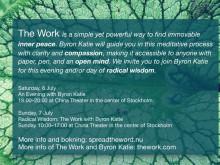 Byron Katie till Stockholm 6-7 juli. The Work föreläsning och workshop på Chinateatern.