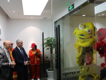 Traditional Lion dance at the opening of V.Group's new head office in Shanghai