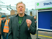Steve Pottinger reads a special poem at Stechford station