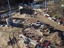 Drohnenflug über die Polarium-Baustelle