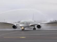 Qatar Airways premiärlandar på Göteborg Landvetter Airport. Fotograf: Lars Persson