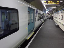 Great Northern's first new air-conditioned suburban train arrives in passenger service at Moorgate