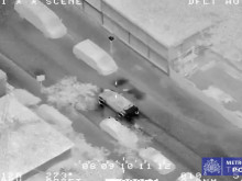 Helicopter footage of pursuit and suspects fleeing