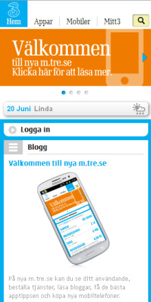 Mobiloperatören 3 lanserar ny mobilportal –   Nya smarta funktioner för kunder med smartphone
