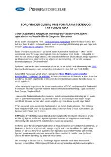 FORD VINDER GLOBAL PRIS FOR ALARM-TEKNOLOGI I NY FORD B-MAX