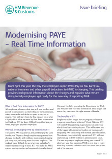 HMRC Briefing - Modernising PAYE Real Time Information