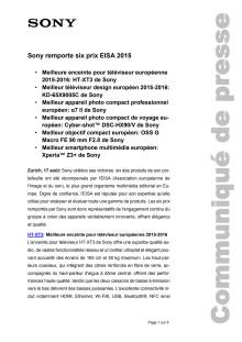 Sony remporte six prix EISA 2015
