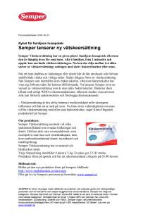 Nyhet för familjens husapotek: Semper lanserar ny vätskeersättning