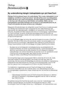 Rapport från Öhrlings PricewaterhouseCooper: Ny undersökning klargör riskkapitalets syn på CleanTech