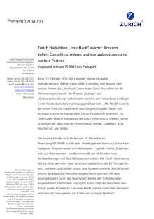 """Zurich Hackathon """"InsurHack"""" wächst: Amazon, Sollers Consulting, Adesso und startupbootcamp sind weitere Partner - Insgesamt winken 75.000 Euro Preisgeld"""