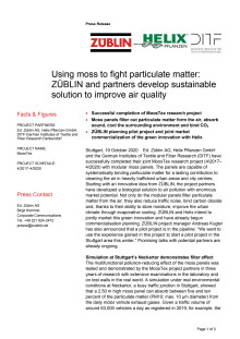 Using moss to fight particulate matter: ZÜBLIN and partners develop sustainable solution to improve air quality