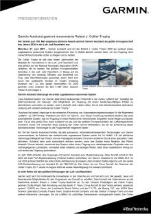 PM Garmin Autoland gewinnt renommierte Robert J. Collier-Trophy