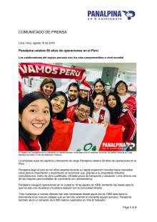 Panalpina celebra 50 años de operaciones en el Perú