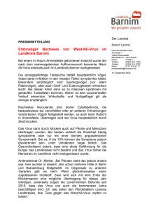 Erstmaliger Nachweis von West-Nil-Virus im Landkreis Barnim