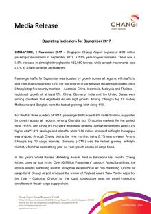 Operating Indicators for September 2017