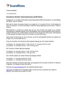 Scandlines afholder sikkerhedsøvelse på M/F Berlin