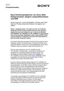 Neue Heimkinoprojektoren von Sony: Mehr Designvarianten, längere Lampenlebensdauer und HDR