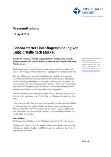 Pobeda startet Linienflugverbindung von Leipzig Halle nach Moskau