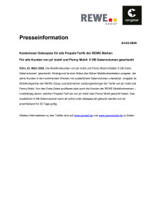 Kostenloser Datenpass für alle Prepaid-Tarife der REWE Marken