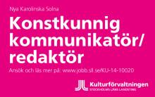 Konstenheten på kulturförvaltningen söker konstkunnig kommunikatör/redaktör