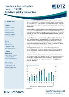DTZ Investment Market Update Sweden Q3 2013