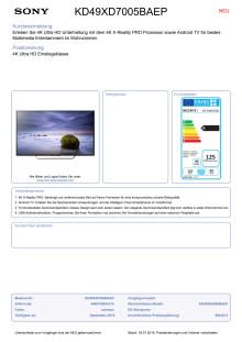 Datenblatt BRAVIA KD-49XD7005BAEP von Sony