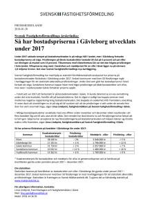 Svensk Fastighetsförmedlings årskrönika: Så har bostadspriserna i Gävleborg utvecklats under 2017