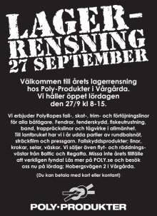 Annons Lagerrensning Poly-Produkter i Vårgårda 2014
