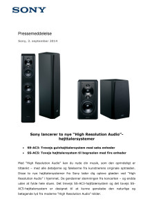 "Sony lancerer to nye ""High Resolution Audio""-højttalersystemer"