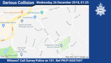 Appeal for witnesses following fatal collision in Epsom